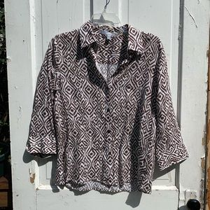 Foxcroft size 8 Brown White Print Top